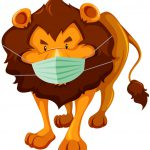 Lion cartoon Character with mask