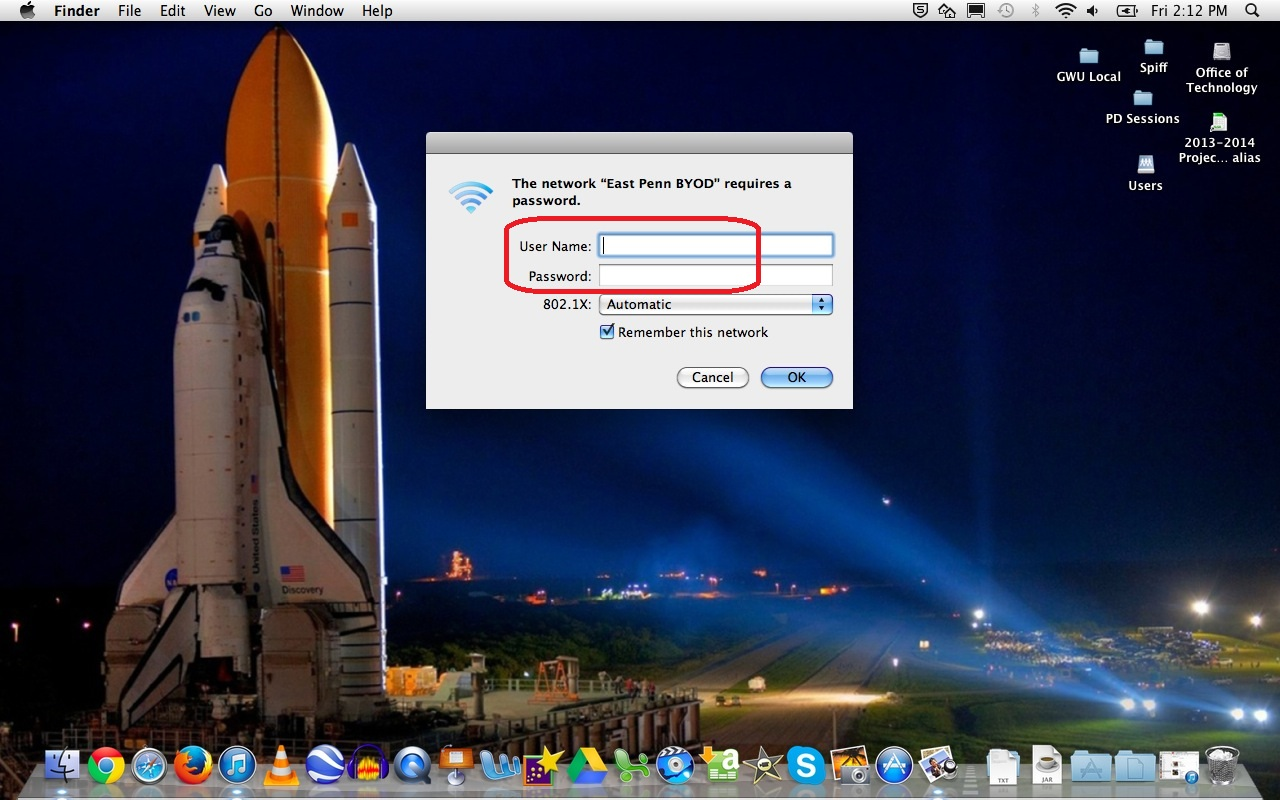 Apple Laptop: enter username and password picture