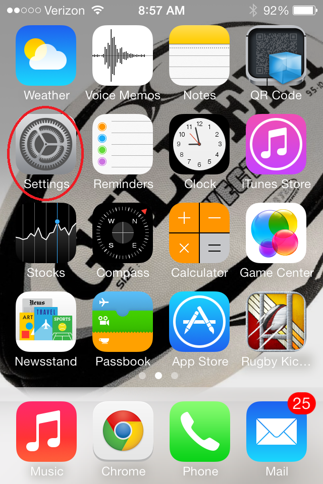 iPhone: Press the settings button on the home screen