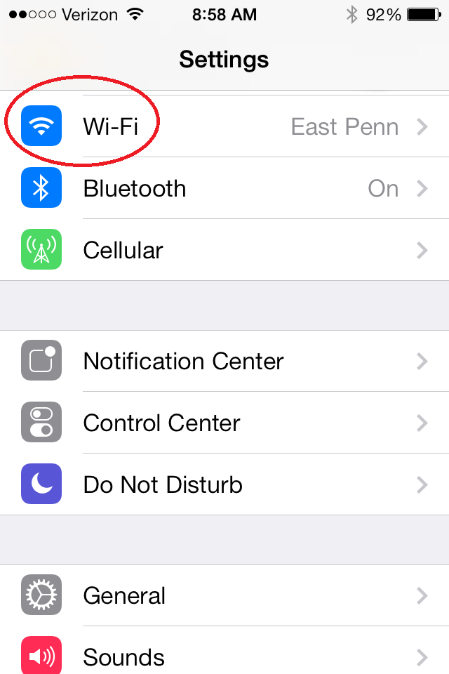 iPhone: Click on the Wi-Fi button in settings